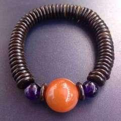 惠源珠宝行  15mm南红水红转运珠手串 椰壳隔片搭配紫晶