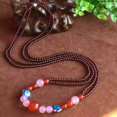 惠源珠宝行  天然进口石榴石3.8mm毛衣链 色泽红润 晶体漂亮 搭配大颗粒红玛瑙 粉玉髓