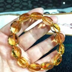 彩霞珠寶  天然巴西黃水晶隨形手鏈 顏色晶體一流 閃閃發光 上手效果超美 全凈體