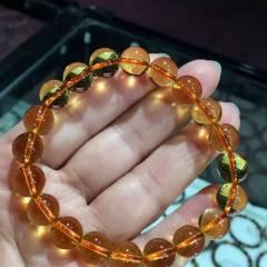 彩霞珠寶  天然巴西黃水晶圓珠手鏈 顏色晶體一流 閃閃發光 上手效果超美 全凈體