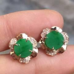 彩霞珠宝  时尚辣绿圆耳钉,色辣厚装,超美,超值