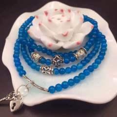盛瑞特珠宝行 磷灰石四圈手链  天然水晶小颗粒手链