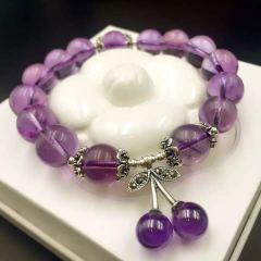 盛瑞特珠宝行  天然紫水晶单圈手链  搭配银樱桃吊坠