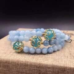 盛瑞特珠宝行  海蓝宝石手链  搭配欧币  天河石