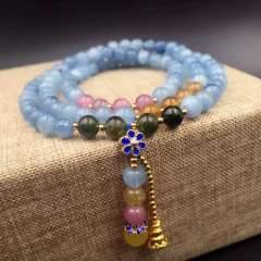 盛瑞特珠宝行  海蓝宝石搭配碧玺  欧币 景泰蓝 手链
