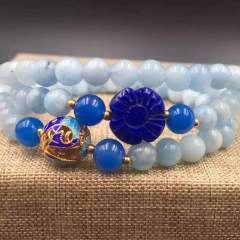 盛瑞特珠寶行   海藍寶石  搭配藍玉髓  青金小花