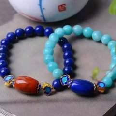 盛瑞特珠宝行  天然青金天河石单圈手链   少白少金两款选择  搭南红 烤蓝