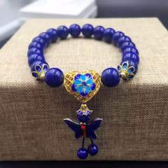 盛瑞特珠寶行  天然青金石手鏈  7mm  搭配景泰藍
