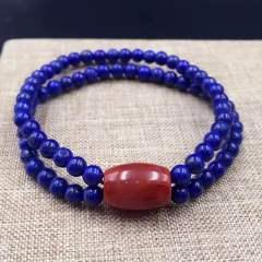 盛瑞特珠宝行  天然青金手链  搭配南红桶珠      4.5mm