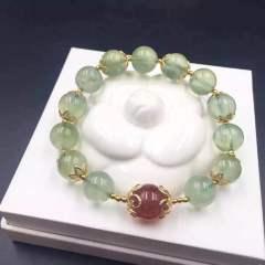 盛瑞特珠宝行 产自马里的纯天然葡萄石手链  搭配欧币