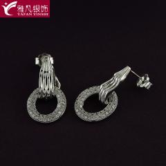 雅凡首饰厂 黄金珠宝 白银 925纯银耳饰 高22mm宽12mm 重3.63克 可批发