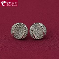 雅凡首饰厂 黄金珠宝 白银 925纯银耳饰 高10mm宽10mm 重2.1克 可批发 1件