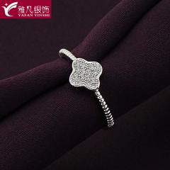 雅凡首饰厂 黄金珠宝 白银戒指 1.65g 伸缩可调
