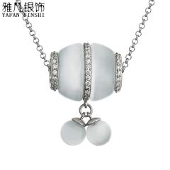 雅凡首饰厂 黄金珠宝 白银 纯银吊坠项链 高2.4cm 宽1.7cm 重6.57克