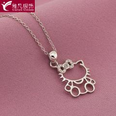 雅凡首饰厂 黄金珠宝 白银 纯银吊坠项链 高18cm 宽15cm 重1.1克 可批发