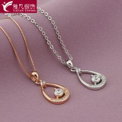 雅凡首饰厂 黄金珠宝 白银 纯银吊坠项链 高23cm宽11cm 重1.38克 可批发 1件