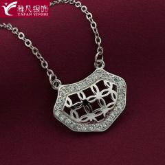 雅凡首饰厂 黄金珠宝 白银 纯银吊坠项链 高14cm宽19cm 重3.2克 可批发 1件
