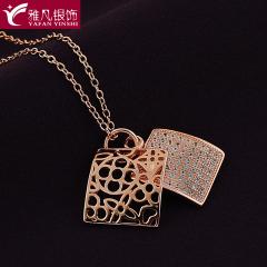 雅凡首饰厂 黄金珠宝 白银 纯银吊坠项链 高18cm宽12cm 重2.1克 可批发 1件