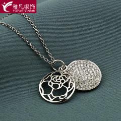 雅凡首饰厂 黄金珠宝 白银 纯银吊坠项链 高21cm宽14cm 重2.3克 可批发 1件