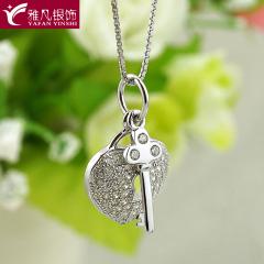 雅凡首饰厂 黄金珠宝 白银 纯银吊坠项链 高19cm宽12cm 重2.8克 可批发 1件