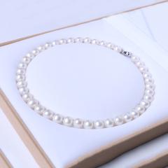 群明珠宝行 精美珍珠项链 10-11mm 真圆淡水珠