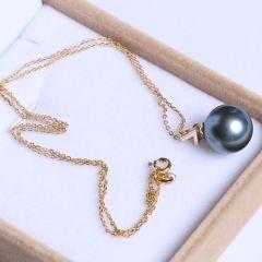 纯珍珠宝 精美珍珠吊坠 正圆孔雀绿无暇珍珠 14KV字头吊坠 12.7mm正圆海珠
