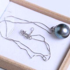 纯珍珠宝 精美珍珠吊坠 超大15mm微暇孔雀绿海珠 14K吊坠 15mm海珠