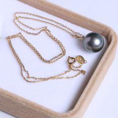 纯珍珠宝 精美珍珠吊坠珍珠挂件 11.9mm无暇孔雀绿海水珠 14K锆石吊坠