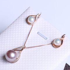 纯珍珠宝 精美珍珠套装 滴水型套装挂件 纯银材质 11.7mm爱迪生紫珠