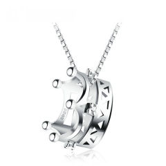银儿缘 项链女 日韩版s925纯银立体皇冠公主吊坠配饰 短款锁骨链送女友 。