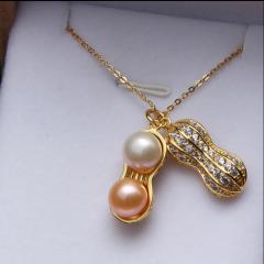 天然淡水珍珠花生吊坠项链925银项链锁骨链长生果礼物刻字 。