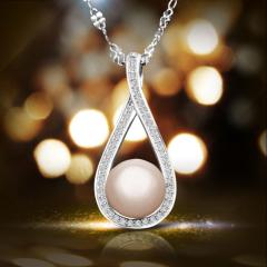 新品上市S925纯银微镶天然珍珠项坠 优雅水滴形彰显气质吊坠