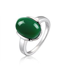 银儿缘 新款天然玉髓戒指 925纯银镀白金开口指环对戒