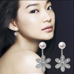 银儿缘 正品银饰品 天然淡水珍珠耳钉女耳饰日韩国甜美可爱耳环防过敏。
