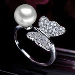 银儿缘纯银正品 指环韩版女时尚镶钻 天然淡水珍珠开口戒指。