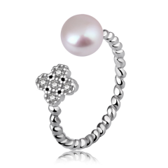银儿缘 四叶草开口珍珠戒指,时尚纯银百搭饰品