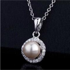银儿缘 新款珍珠纯银吊坠时尚甜美项链饰品