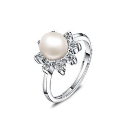 银儿缘纯银指环韩版女时尚镶钻 天然淡水珍珠开口戒指。