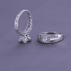 银儿缘   巴黎塔戒指女 埃菲尔铁塔 情侣925纯银指环 高端设计欧美对戒