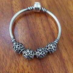 银儿缘 泰银圆珠S990 足银 手链复古时尚手串银饰手链23g