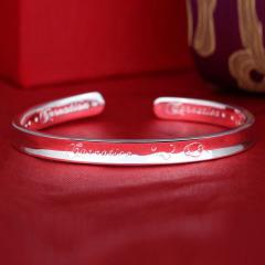 银儿缘 S999纯银饰品康乃馨凹身 纯银开口手镯 约21克 约21克