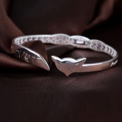 银儿缘 S999纯银饰品 狐狸 贵妃 纯银开口手镯 约19克 约19克