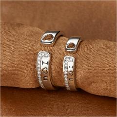 银儿缘 纯银个性指环 LOVE刻字简约情侣戒指 节日纪念礼物