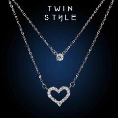 银儿缘 时尚简约双层项链 爱心形锁骨链女