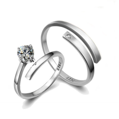 纯银情侣戒指开口韩版时尚对戒子送朋友生日礼物饰品
