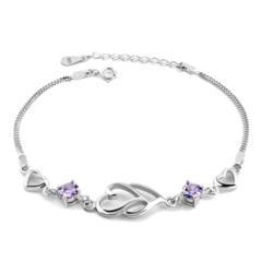 正品纯银手链 韩版女士款心连心潮流银饰女水晶手链饰品送女友礼物