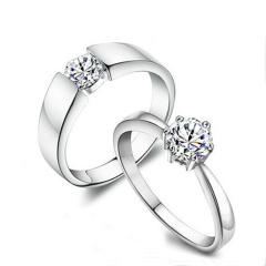 银儿缘  经典仿真纯银情侣戒指韩版时尚银饰品镀白金指环 水晶钻石对戒