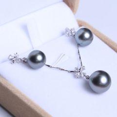 惠丰珠宝行 精美珍珠套装  923银配件 吊坠12-12.5mm 耳环 10-10.5mm
