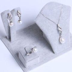 宏峰珠宝工艺厂 精美珍珠套装 淡水珠 吊坠 耳钉  戒指  925银饰