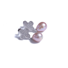 宏峰珠宝工艺厂 精美珍珠耳钉 四叶草耳钉 925银 8.7mm 白色紫色 淡水珠